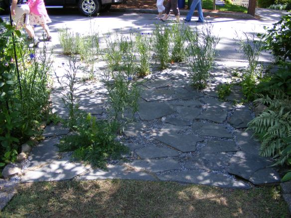 Cobblestone path at a garden on the tour