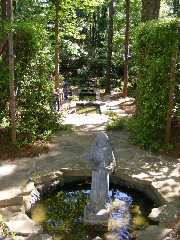 A water feature with many beautiful pools