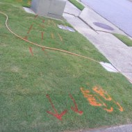 Cable line markings in the yard